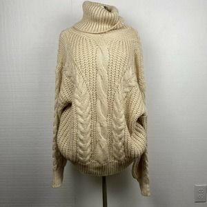 Fate Sweater Cream Cable Knit Chunky Turtleneck
